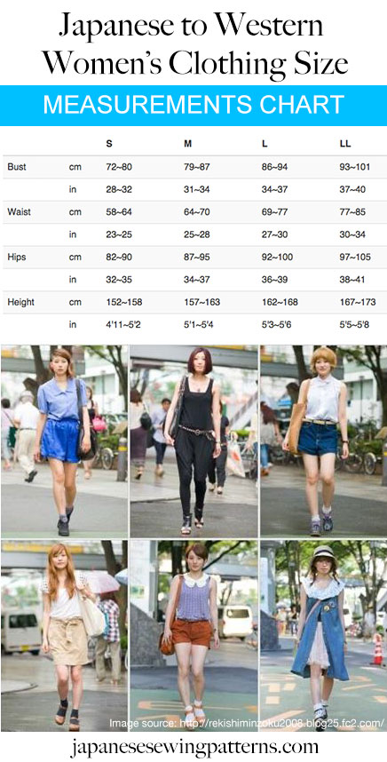 Convert Japanese clothing size to Western size chart measurements. More at www.japanesesewingpatterns.com
